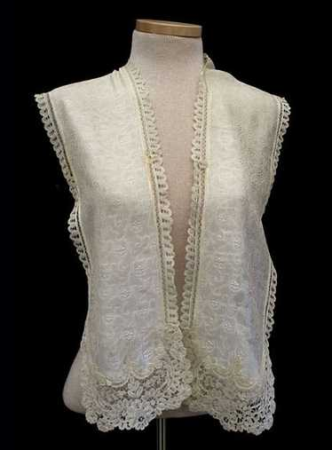 Brussels lace trimmed silk scarf, c.1900