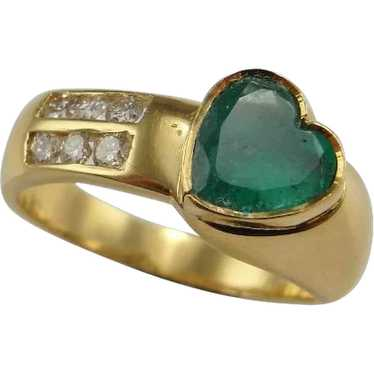Heart Emerald Ring Heart Engagement Ring Heart Wed