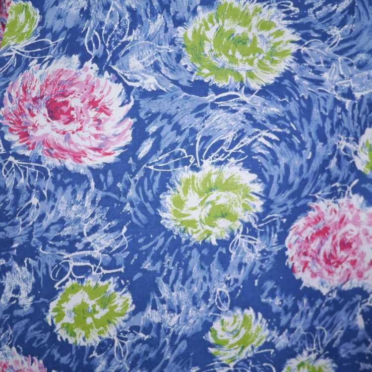 50s FEATHERY FLORAL BLUE COTTON DRESS WITH TIERED… - image 8