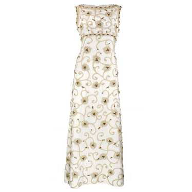 Vintage 60s Bullion Embroidered Brocade Gown