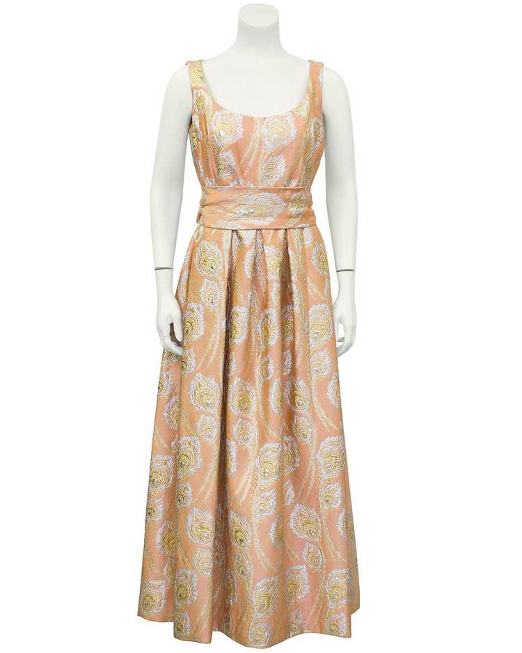 Ceil Chapman Pink and Metallic Brocade Gown - image 3