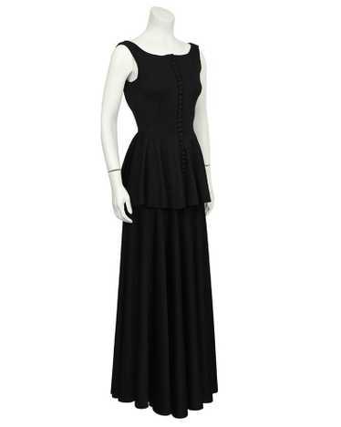 Jean Varon Black Jersey Gown With Peplum