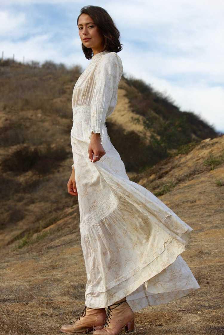 Antique Victorian Calico Lawn Dress - image 4