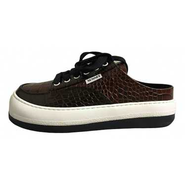 Sunnei Brown Leather Trainers for Women 37 EU