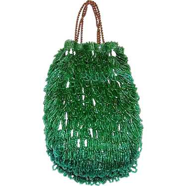 1920's Luscious Kelly Green Beaded Reticule-Czecho