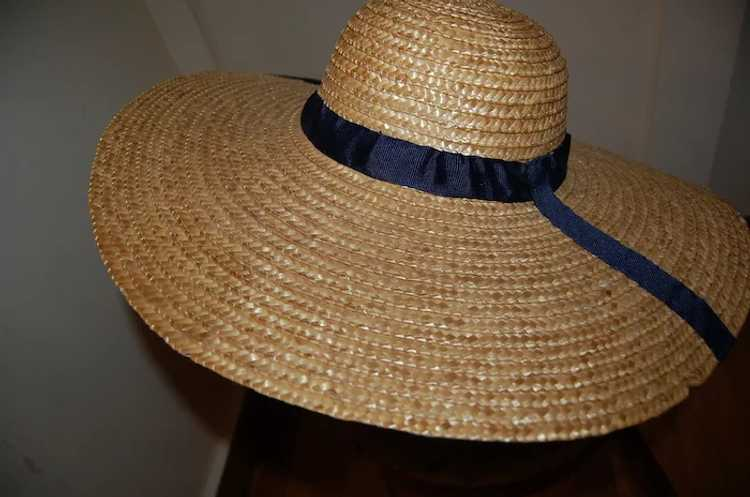 Wide Brimmed Straw Hat Women's 19th c Rural Style - image 7