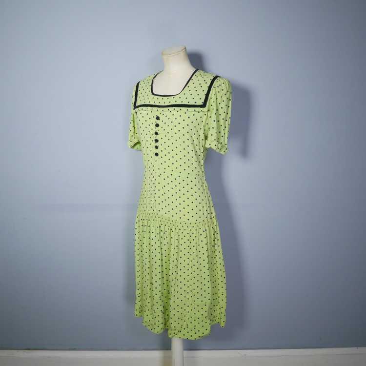 30s 40s LIME GREEN AND BLACK POLKA DOT TEA DRESS … - image 8