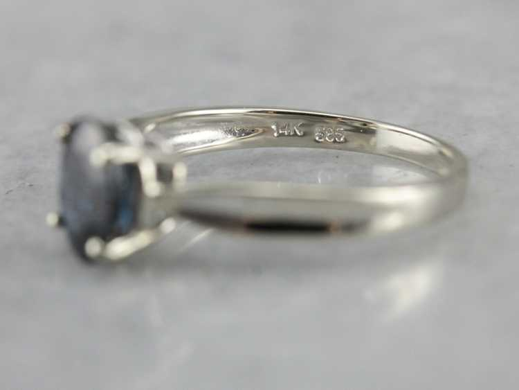 White Gold Sapphire Solitaire Ring - image 3