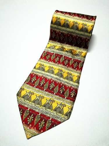 Giorgio Ferri Italian silk necktie yellow blue florwers