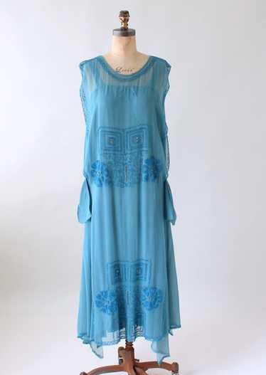 Vintage 1920s Cornflower Blue Tambour Beaded Silk