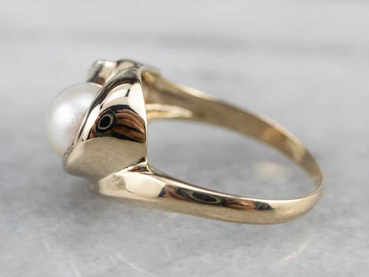 Vintage Pearl and Diamond Ring - image 4