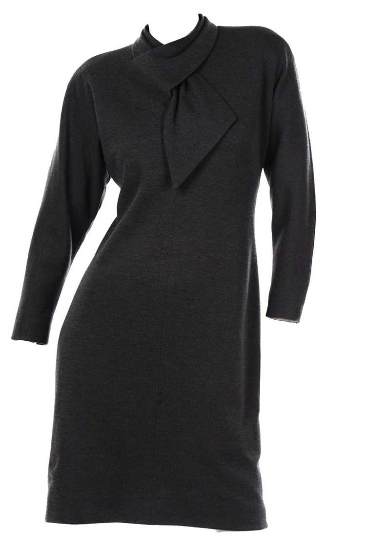 1970s Vintage William Travilla Charcoal Gray Dres… - image 1