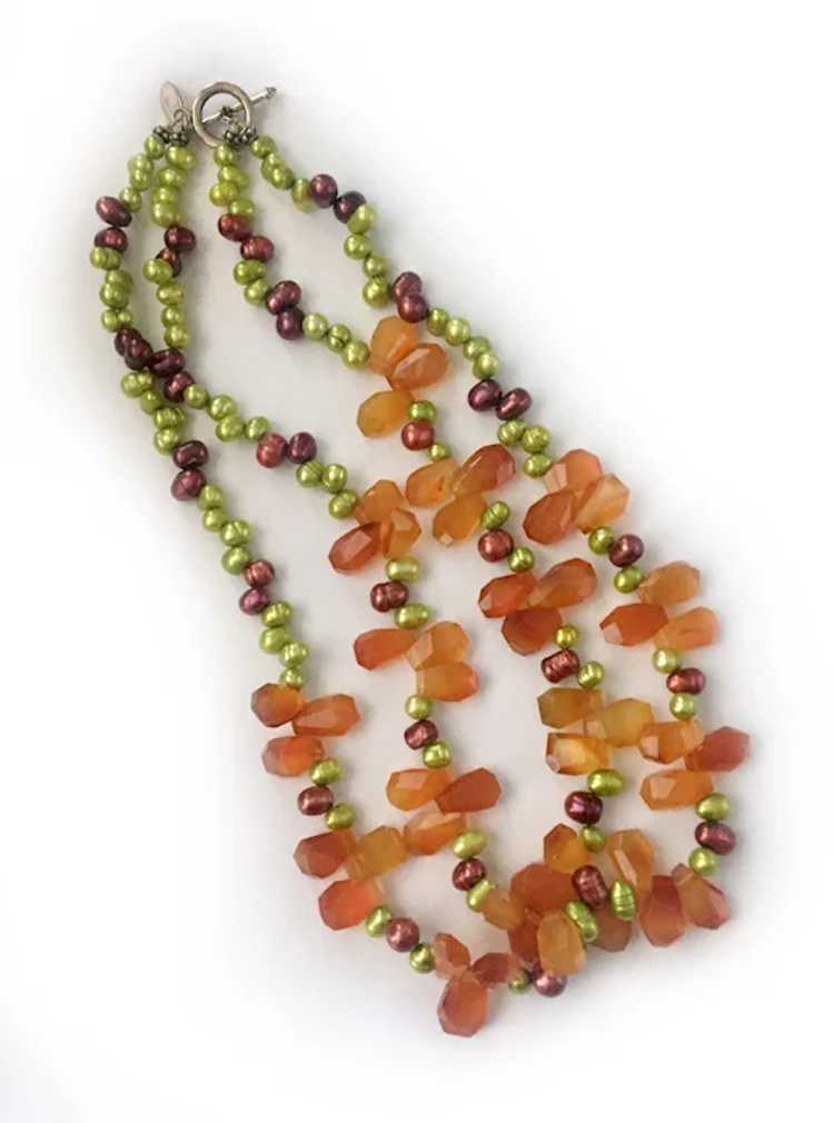 Colorful Freshwater Pearls, Carnelian and Sterlin… - image 4