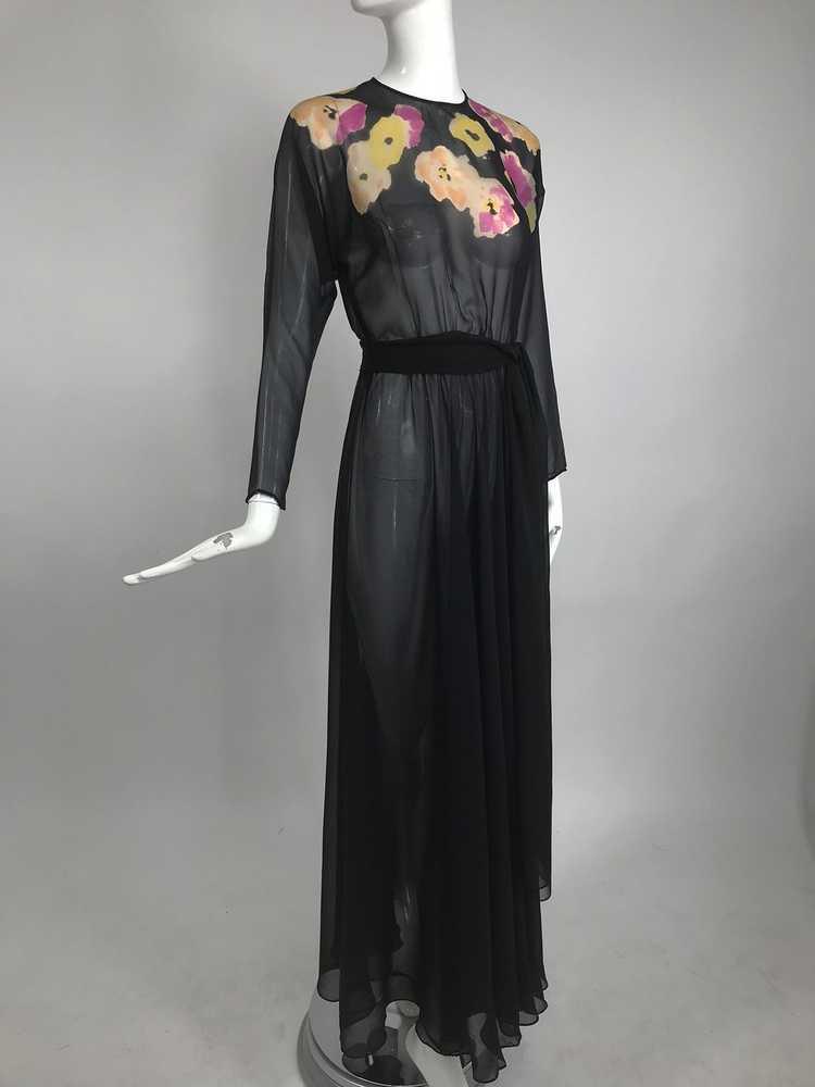 Vintage 1930s Floral Print Bias Cut Black Silk Ch… - image 10