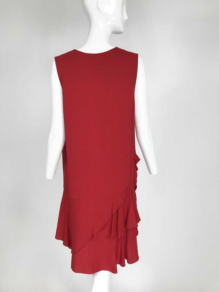Lanvin Cherry Red Silk Blend Crepe Chemise Dress - image 6