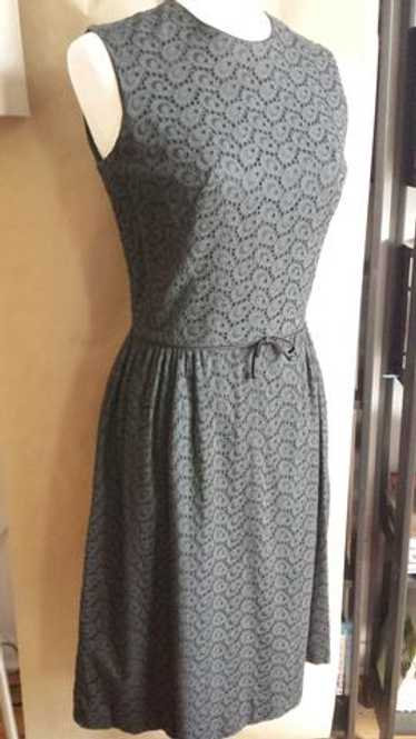 Chen - - vintage 1950s sexy black eyelet dress