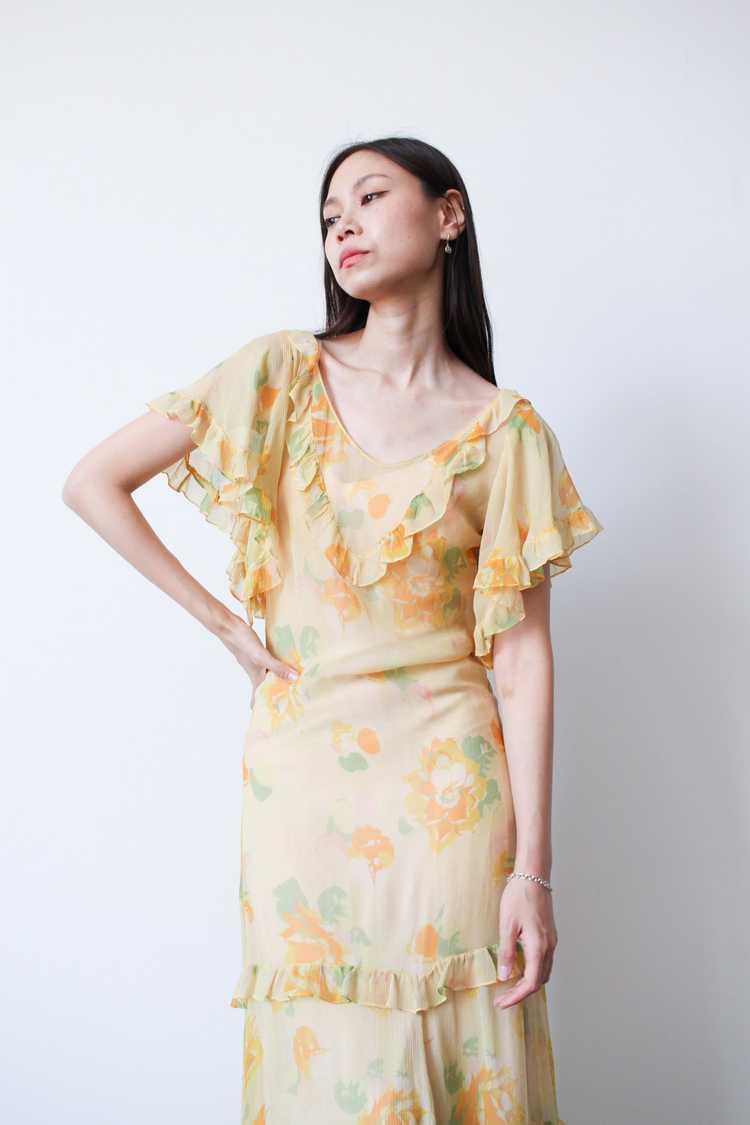 1930s Chiffon Silk Yellow Floral Dress w/ Bolero - image 3