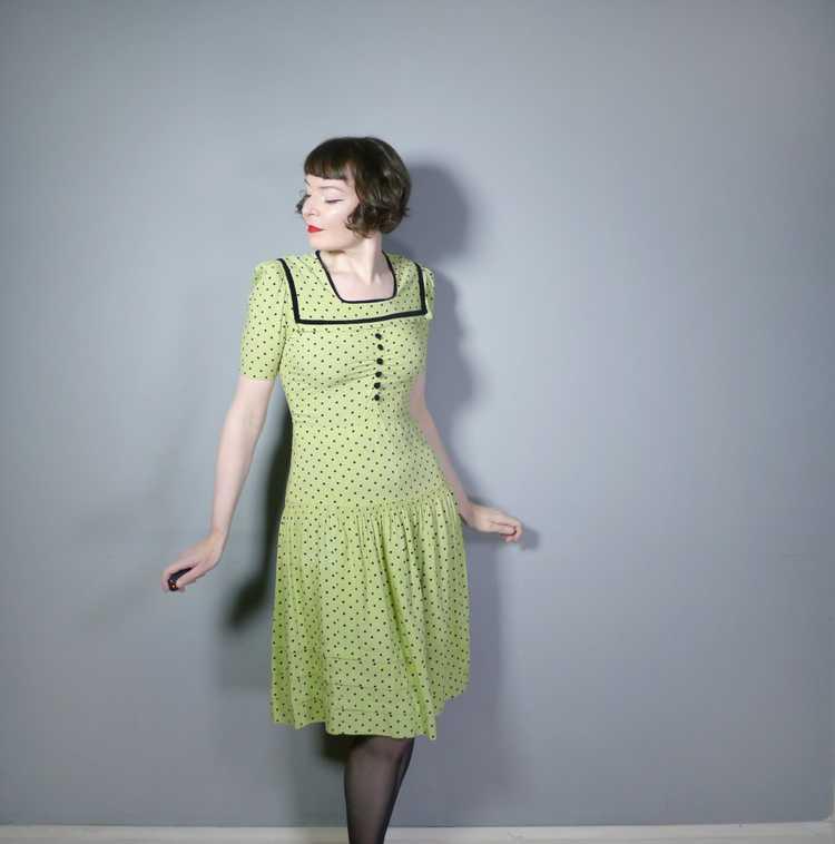 30s 40s LIME GREEN AND BLACK POLKA DOT TEA DRESS … - image 4