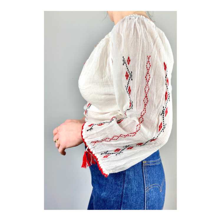 Hungarian Embroidered Vintage Blouse - image 9