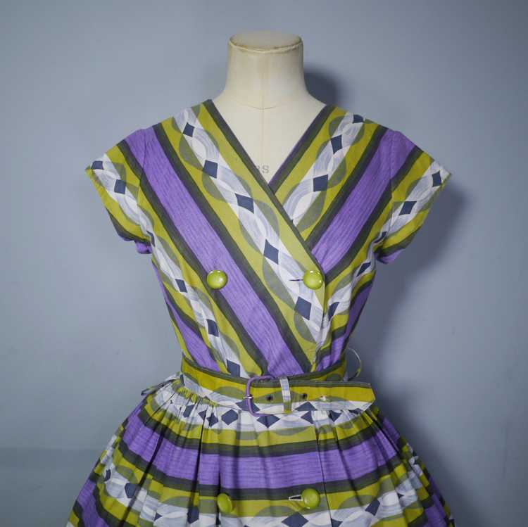 50s MID CENTURY PRINT PURPLE AND LIME STRIPED DOU… - image 6