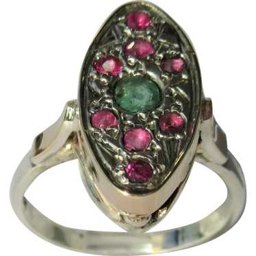 Emerald and Ruby Sterling Silver Ring - image 1