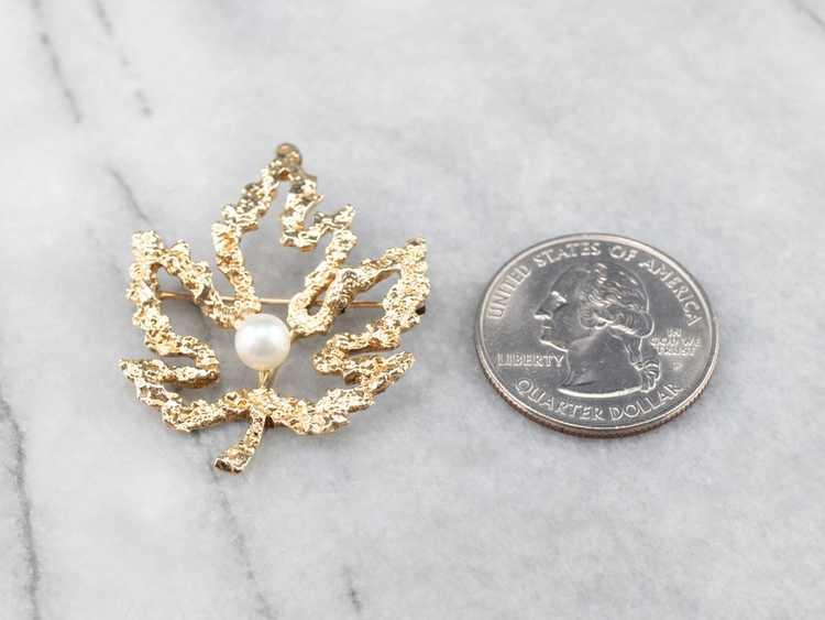 Vintage Gold and Pearl Maple Leaf Brooch - image 10