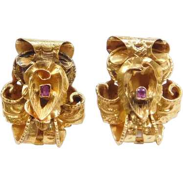 14k Gold Art Nouveau Ruby Stud Earrings