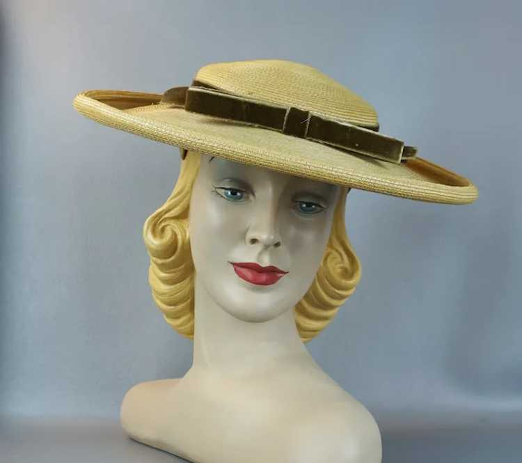 1950s Natural Straw Wide Brim Picture Hat - image 10