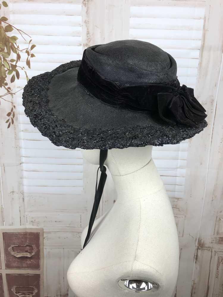 Original 1930s 30s Black Straw And Velvet Wide Br… - image 6