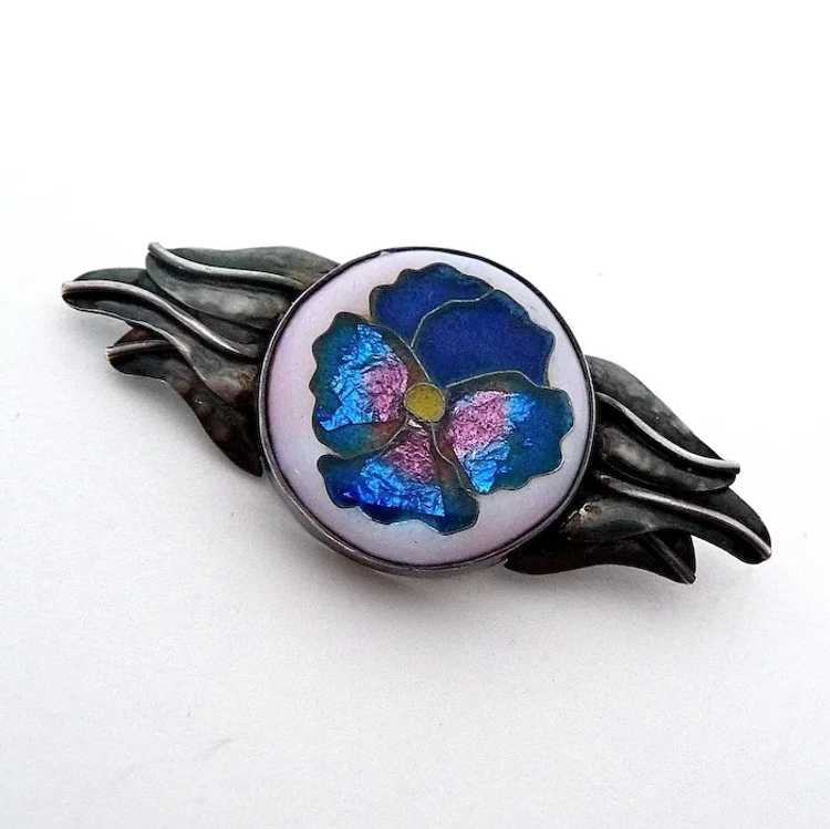 Handcrafted Sterling Cloisonne Enamel Pansy Pin - image 2