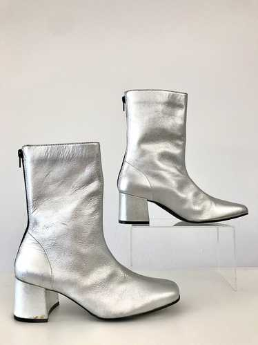 1990's Silver Leather Go-Go Ankle Boots By BONGO