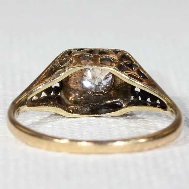 Vintage Gold Diamond Solitaire Ring - image 4