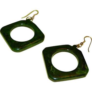 1960s Chunky Marbled Green Bakelite Cut-Out Earrin