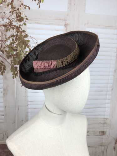 Purple 1930s 30s Straw Brimmed Perched Hat With Pi