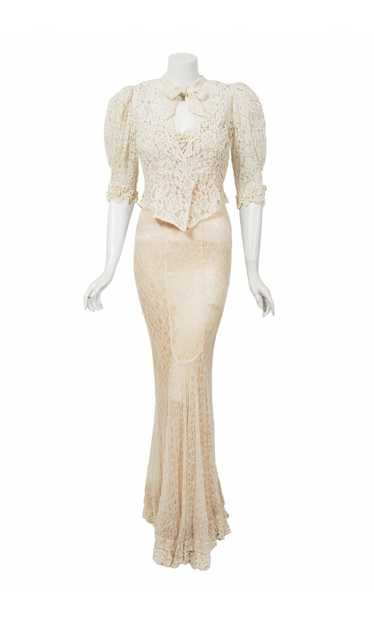1930's Ivory Lace-Illusion Backless Bias-Cut Gown