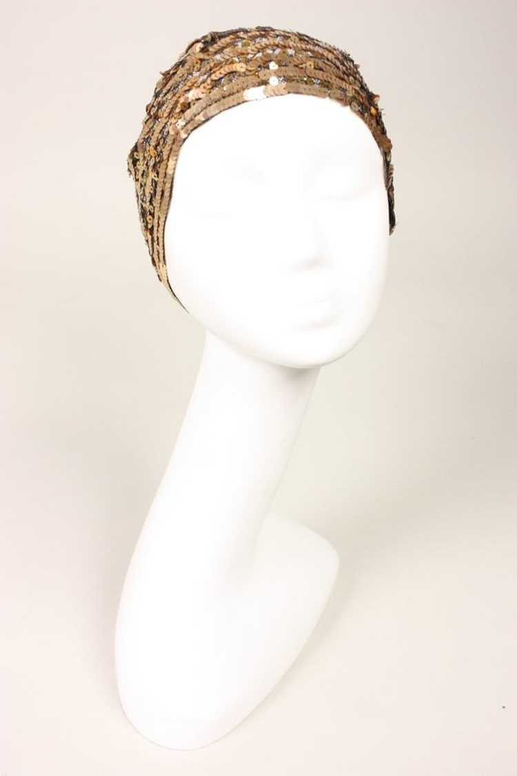 1930's Skull Cap Sequined Vintage - image 2