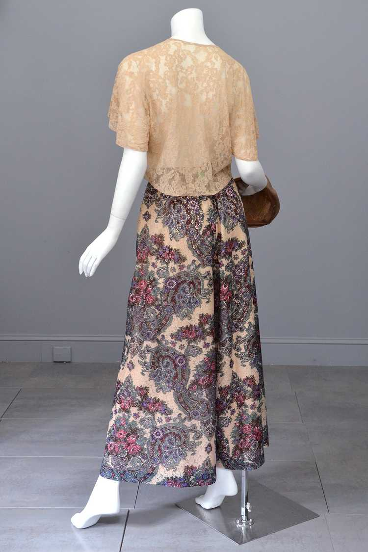 1970s Lacey Floral Print Palazzo Pants - image 4