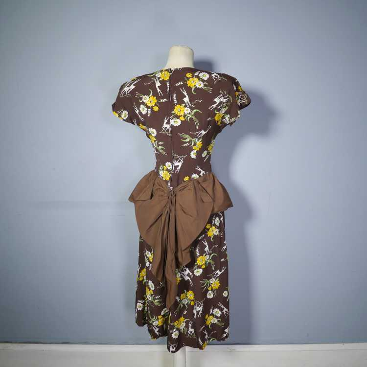 40s NOVELTY DEER AND FLOWER PRINT BROWN RAYON DRE… - image 9