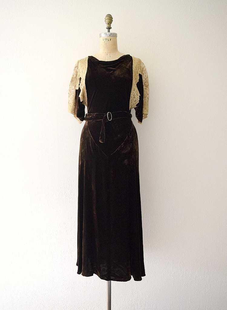 1930s velvet gown . vintage 30s bias cut dress - image 2