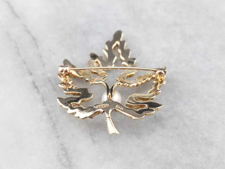 Vintage Gold and Pearl Maple Leaf Brooch - image 5