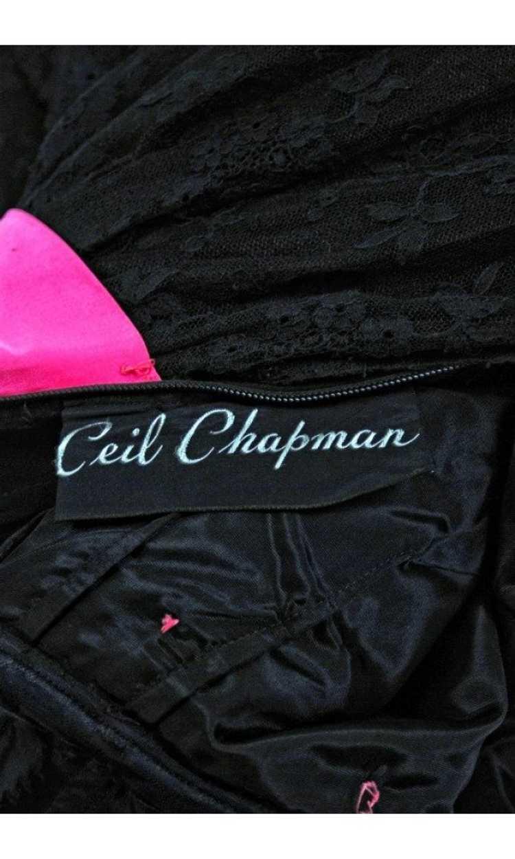 1950's Ceil Chapman Black & Pink Chantilly Lace S… - image 6