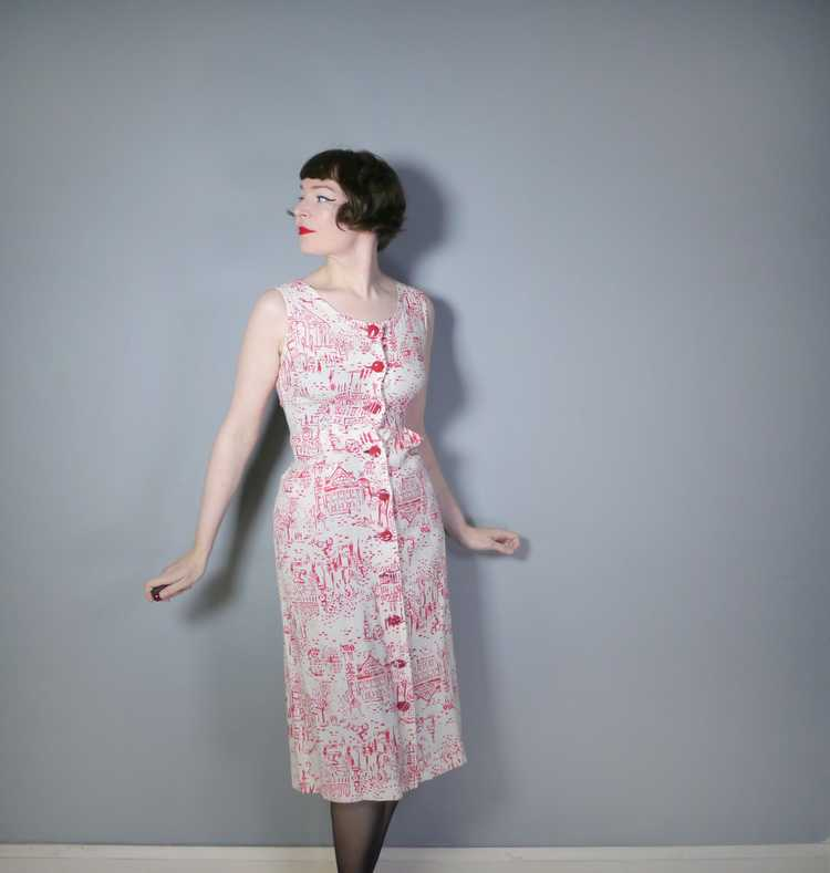 40s RED WHITE NOVELTY DRESS AND BOLERO IN PARISIA… - image 3