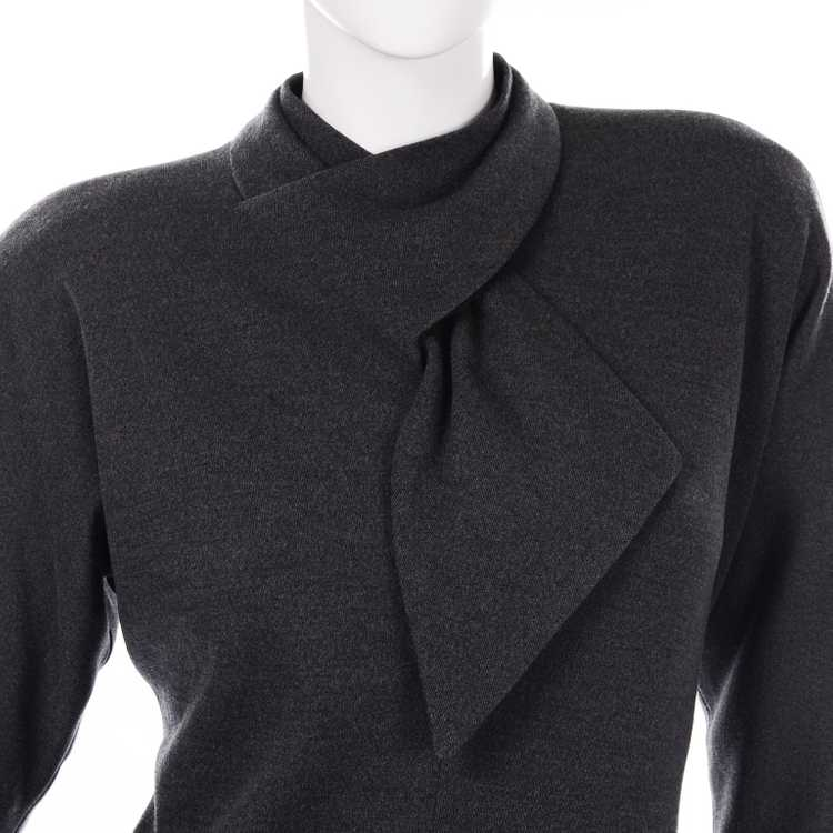 1970s Vintage William Travilla Charcoal Gray Dres… - image 8