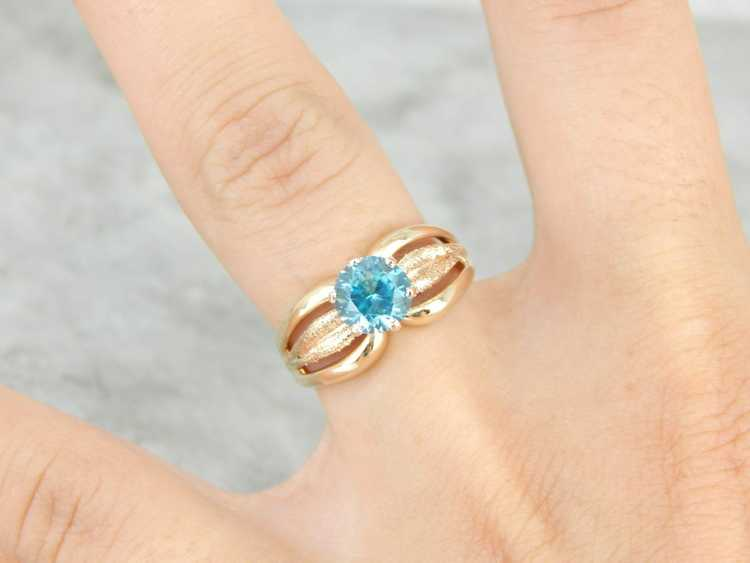 Blue Zircon Gold Solitaire Ring - image 4