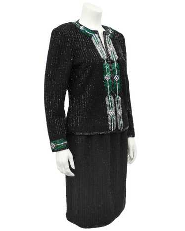 Adolfo Black Knit Evening Suit with Art Deco Inspi