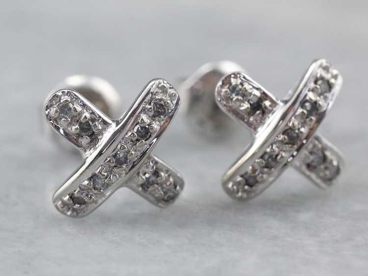 Diamond X Stud Earrings - image 3