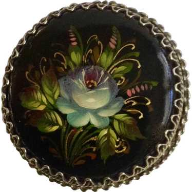 Russian Black Lacquer Blue Flower Hand Painted Flo