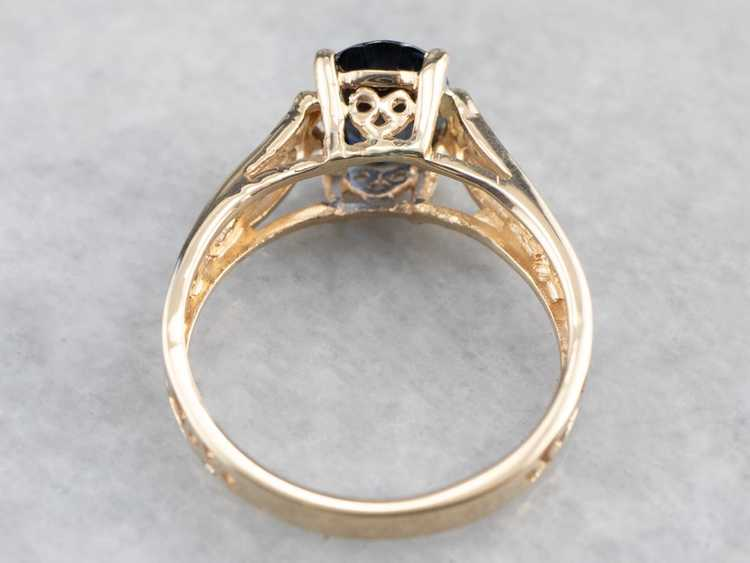 Sapphire Gold Filigree Solitaire Ring - image 5
