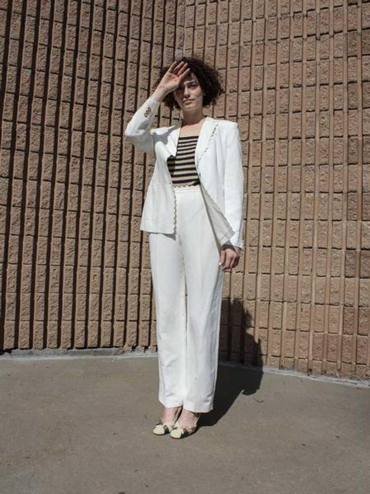 Louis Féraud Scalloped Linen Suit - image 1