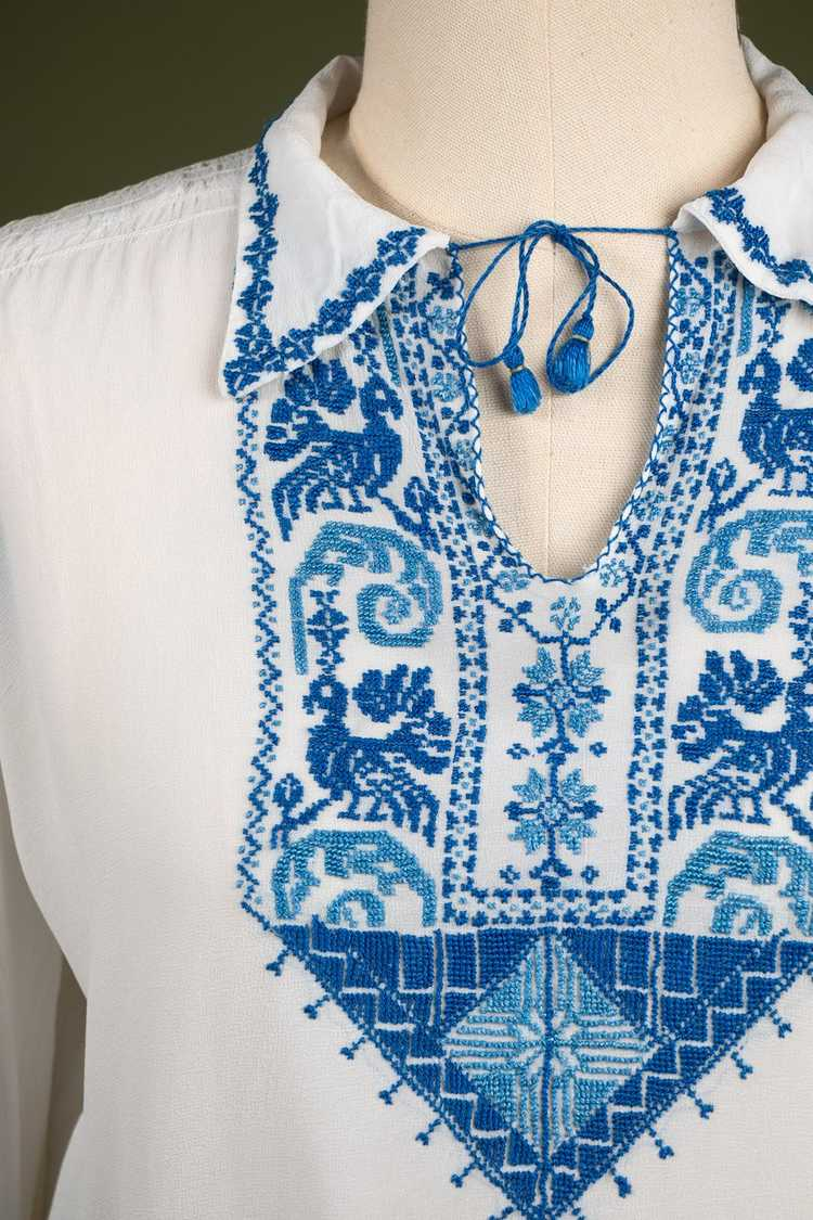 Vintage 1930's Embroidered Peasant Blouse - image 2